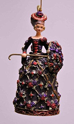 Deko Hänger Rokoko-Dame mit Schirm, Anhänger Christbaumschmuck, violett, gold, 13 cm