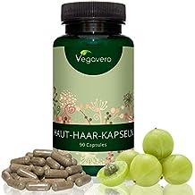 Haut-Haare-Nägel-Complex Vegavero | 90 Kapseln | Pur aus Pflanzenextrakten | Biotin, B-Vitamine und Silizium | Vegan und OHNE Zusatstoffe | volles Haar - glatte Haut - feste Nägel