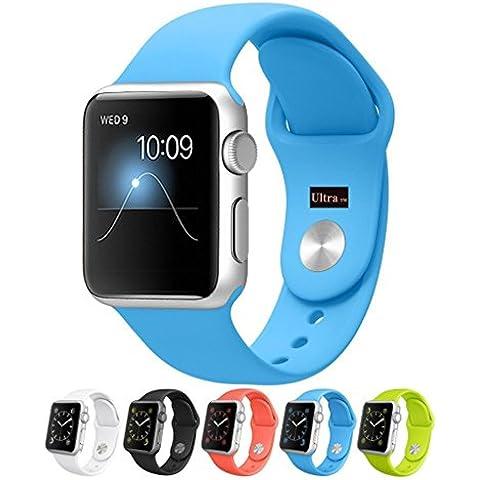 Ultra® azul calidad silicona recambio Correa de reloj para Apple relojes deportes suave silicona goma Fitness banda correa de muñeca para Apple iWatch 42