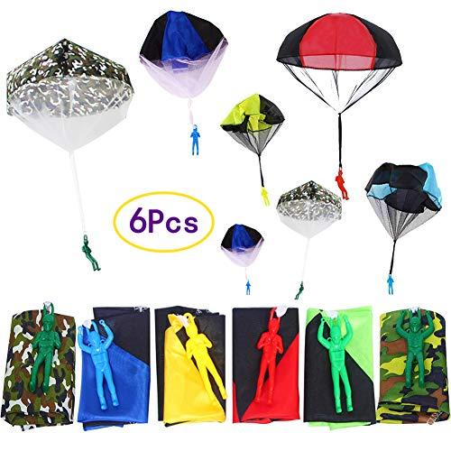 SWZY Fallschirmspringer Spielzeug,6 Stück Smile Kinder Hand werfen Fallschirm, Kinder Hand Werfen Fallschirm Fallschirmspringer Wurf Parachute Kinderdrachen Spielzeug Geschenk für Draußen