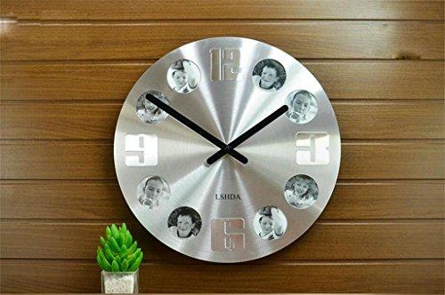 ONGZ orologio, Xiaolang e orologi creativi, orologio da parete Mute, photo campana di moda, orologi da parete, orologi Soggiorno, E creativo Hanging Orologio da tavolo, orologi al quarzo, orologio da parete ( colore : A Section Silver Wire )