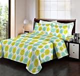 Bombay Dyeing Breeze Yellow And Cyan Color Leaf Classical Design Cotton 140 TC Double Bed Sheet With Two Pillow Covers