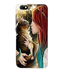 ColourCraft Girl with Cat Design Back Case Cover for HUAWEI HONOR 4X