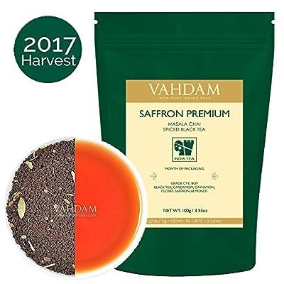 Thé au Safran, Chai Impérial (40 Tasses), Thé Noir Premium d'Assam avec Safran, Cardamome, Clous de Girofle & Poivre Noir du Cachemire, 100% Original, Recette Maison Originale d'Inde - 100g
