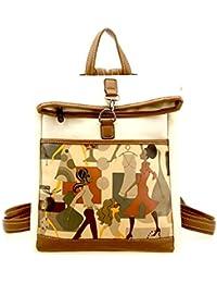 Di Grazia Printed Foldable Womens Teens Laptop Handbag Backpack (Brown & Beige, Beige-Printed-Laptop-Backpack)