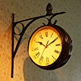 Tweezijdige Wall Clock, Indoor & Outdoor Garden Station Clock Vintage Antieke Look Wall Mounted
