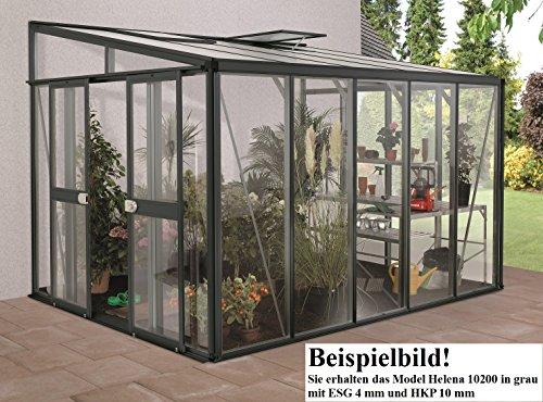 Gartenwelt Riegelsberger Anlehngewächshaus Helena - Ausführung: 10200 Kombi ESG 4 mm und HKP 10 mm grau, Fläche: ca. 10,2 m², mit 2 Dachfenster, Sockelmaß: 2,68 x 4,07 m