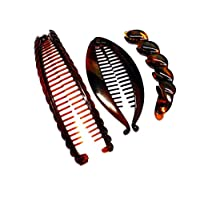 La Peach Fashions Ladies 3 pc.Set Of Assorted Tort Banana Hair Combs Lovely Designs Quality Product Tort