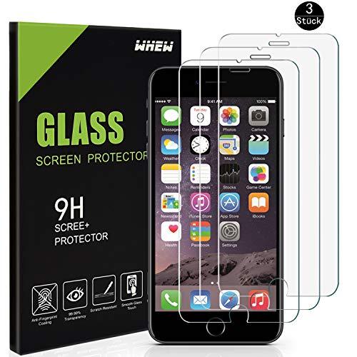 Whew Panzerglasfolie Folie Kompatibel iPhone 6 Plus/iPhone 6s Plus,[3 Stück] 9H Hart Panzerglasfolie,Anti Öl,Kratzen und Fingerabdrücke Blasenfrei,0.26mm HD Ultra-klar Displayschutz Schutzfolie
