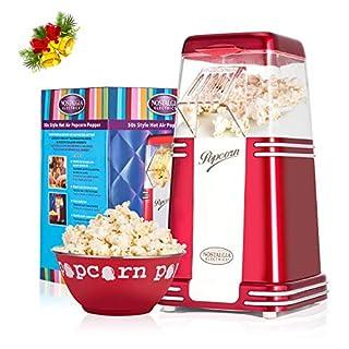NOSTALGIA ELECTRICS Popcornmaschine, 1100W Heißluft Popcorn Maker ohne Öl, Retro-Rot Popcornautomat mit Messkappe und Abnehmbarem Deckel, Stilvoller Popcorn Popper für zuhause und Weihnachtsgeschenk