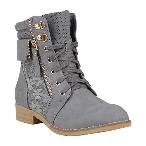 Spitze Leder Boot Schuhe (Stiefelparadies Damen Stiefeletten Schnürstiefeletten Spitze Boots Leder-Optik Schuhe Zipper Schnürboots 152367 Grau Spitze Brito 39 Flandell)
