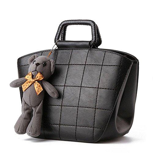 Koson uomo donna, in stile Vintage, con tracolla per piccola borsa a tracolla, maniglia superiore, nero (Nero) - KMUKHB275