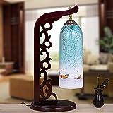 Lámpara de mesa,creativo moderno dormitorio Salón de antigüedades de estilo chino de cabecera Hand-Painted Lámpara de mesa 23*53cm,UN