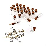 TININNA 50 Pcs Mini Botellas de Vidrio Tubos para Decoración DIY Artesanía Collar Correa,18 mm*10 mm