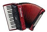 Hohner A16431s Bravo Line Facelift III -80basses accordéon Piano chromatique avec housse de rangement, Rouge