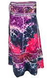 ufash Wickelrock Batik Goa Gipsy - Bunter Maxi Rock Lang aus Indien, mit Bändern, Pink