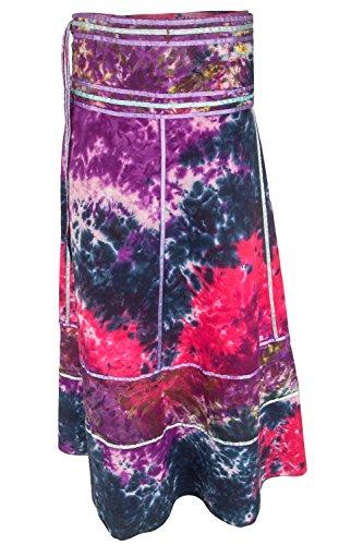 Gonna a portafoglio Batik - Gonna unisex dall'india, lunga 92 cm, con nastri rosa fucsia