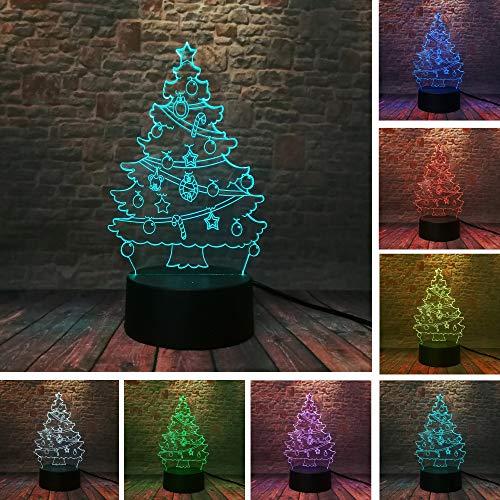 RMRM 3D Illusion Lampe Warme Weihnachtsbaum Glocke Stern Bär Regenschirm 3D 7 Farbe Dimmen T Led Nachtlichter Kind Kinder Familie Freund Geschenke