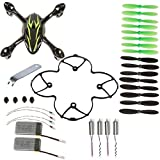 Hobbylane 8-in-1 Black/Green Spare Parts Crash Pack for Hubsan X4 H107C Quadcopter 2 PCS 380 mAh Batteries Mini Drone Main Body Shell 16 PCS Rotor Blades Protective Gear Motor and Other as Shown by Hobbylane