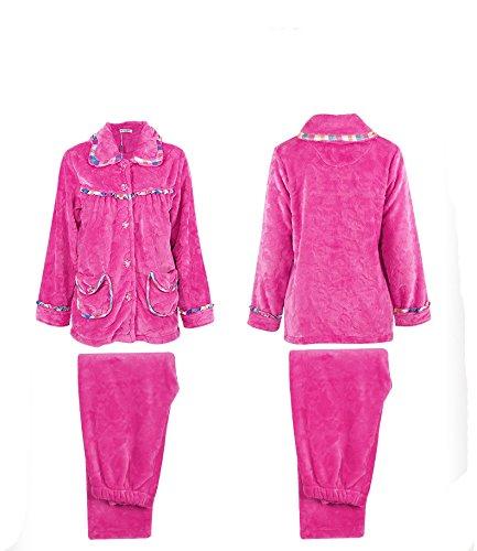 tonwhar Femme Automne Hiver Flanelle Ensembles de jeux pyjama Multicolore - Peach Red