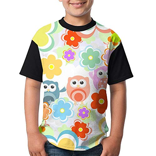 JEWold Custom Round Neck Teenagers Lovely Owl and Flower Child Funny Boys Short Sleeve Young T-Shirt Black Kindert-Shirt -