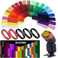Zacro 20 Pcs Gel Filtros Cámaras Iluminación Flash de Corrección Termografía para Flash Speedlite,5 Anillos de Goma de Rojo y Negro y Caja de Almacenaje