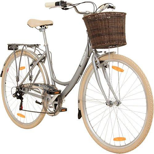 Galano 28 Zoll Valencia 6 Gang Citybike Stadt Fahrrad Damenrad Damenfahrrad, Rahmengrösse:16 Zoll, Farbe:Silber