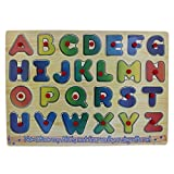 A-Z Wooden Alphabet Puzzle Picture Board With Peg Knobs - (1c237) - Learning Educational Math Toys for kids 18M+