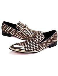 Winklepicker Dedo del pie puntiagudo piel genuina De los hombres Bomba Negocio Casual Los zapatos de cuero Zapatos de boda Estilo de Inglaterra Brock Tallado Mocasines Zapatos Monje Zapatos perezosos , yellow , 39