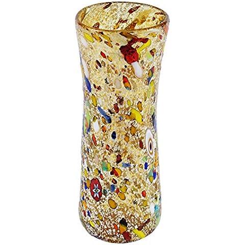 VASO ARLECCHINO Vetro Murano Foglia Argento 925 Murrine Vaso Venezia Fatto a (Vaso Di Vetro Bicchiere)