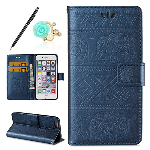 Uposao Kompatibel mit iPhone 6S 4.7 Handyhülle Mandala Elefant Muster Leder Schutzhülle im Bookstyle Handytasche Flip Case Cover Retro Ledertasche Lederhülle Klapphülle,dunkelblau Pocket-pc-leder