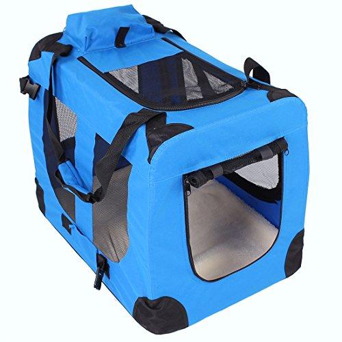Transportbox faltbar inklusive Polster Hundebox Autobox Katzen in verschiedenen Farben & Größen (M, Blau)