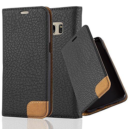 Preisvergleich Produktbild Cadorabo Hülle für Samsung Galaxy S7 - Hülle in Signal SCHWARZ – Handyhülle mit Standfunktion,  Kartenfach und Textil-Patch - Case Cover Schutzhülle Etui Tasche Book Klapp Style
