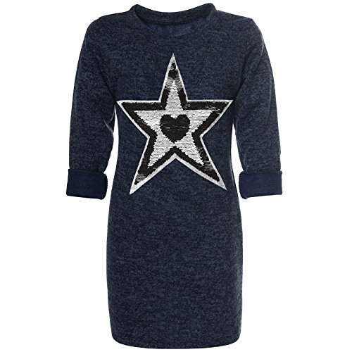 BEZLIT Mädchen Pullover Kleid Wende-Pailletten Pulli Sweatshirt 21558 Blau 128