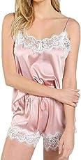 MERICAL Frauen Nachtwäsche Sleeveless Strap Nachtwäsche Lace Trim Satin Cami Top Pyjama Sets