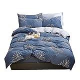 2 teiliges Baumwolle Bettwäsche-Sets Nordischen Stil Weiß Grau Tropische Pflanze Bettdecken-Sets 1 Bettbezug +1 Kissenbezüge für Mann Erwachsene Kinder Jugend (Blau, 200 x 230 cm)