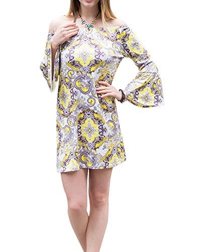 Damen Tunika Strandkleid Minikleid Weinlese Kleider mit Langen Ärmeln 555  Als Bild