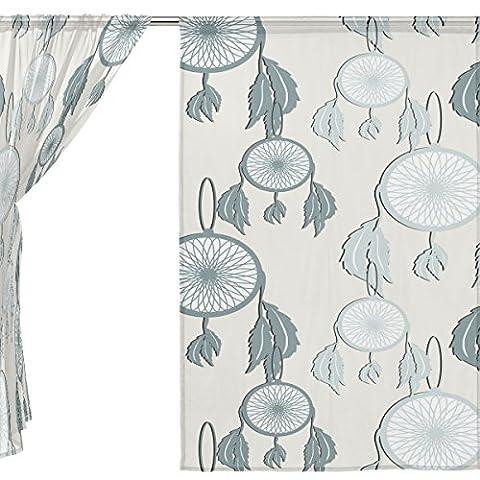 jstel Lot de 2voile rideau fenêtre, Cartoon Gris Motif attrape-rêves, en tulle Transparent Rideau Drapé Lit 139,7x 198,1cm deux panneaux de, Polyester, bleu, 55x84x2(in)