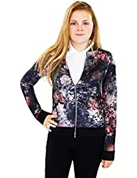 Veste New Ladies Biker Zipper Femmes Bomber Flower 3D Print Celebrity Inspiré