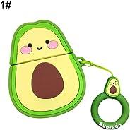 lansiZD Bluetooth Earphones Cartoon Peach Fruit Shape Silicone Earphone Protective Case Box for Air Pods 1/2 - Avocado^