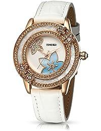 Time100 Reloj con Esfera de flores con Diamantes Reloj elegante para Mujer -W80105L (Blanco)