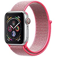 Corki para Correa Apple Watch 38mm 40mm, Nylon Reemplazo Sport Banda para Apple Watch iWatch Series 4 (40mm), Series 3/ Series 2/ Series 1 (38mm), Rosa Intenso