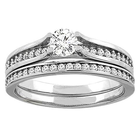 Revoni 14 Karat Weißgold 3-Stein Brillantschliff Ring Diamant mit Diamanten CW425D25369