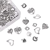 Pandahall 100 colgantes de aleación de corazón estilo tibetano 9,5~18 x 9,5~17 mm 10 estilo plata envejecida Sweet Heart Charms para bricolaje pendientes pulsera joyería fabricación
