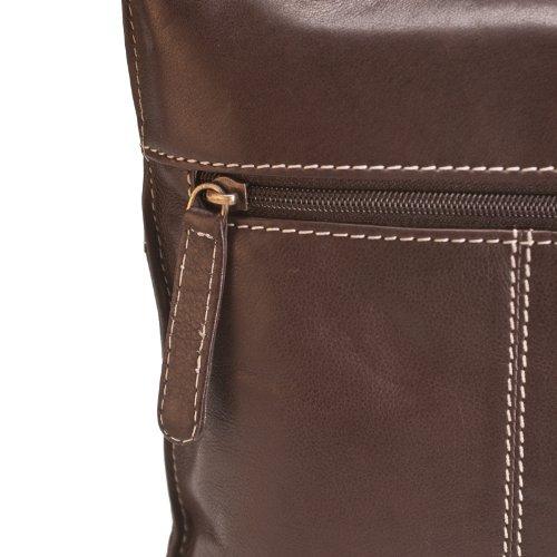"""Brunhide Borsa tracolla, a spalla e a mano in vera pelle adatta per tablet 7"""""""" # 112-300 Cioccolato"""