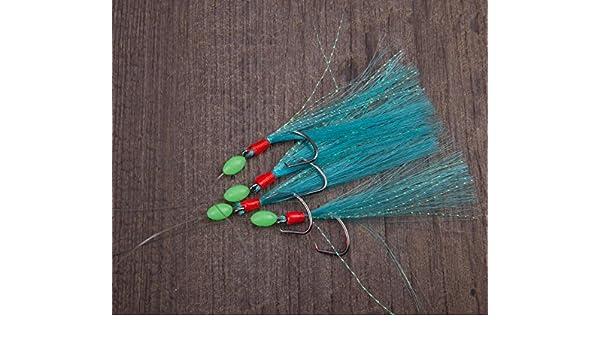 Makrelenvorfach mit Vier Circle Hooks Fischhautimitat Roten und Blauen Federn ca 125cm Fluolockperlen Aquantic Rig Makrele Circle IV