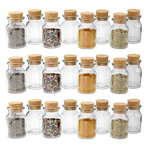 24 WELLGRO® Gewürzgläser mit Kork Verschluss - 150 ml, 6 x 10 cm (ØxH), Gläser Made in Germany - 24 Glas-regal