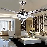 Ventilatore da soffitto telecomandato a cristallo Stealth in acciaio inossidabile 4 foglie, pendente a ventaglio in argento a 3 velocità/dimmerabile a 44 pollici (110V)
