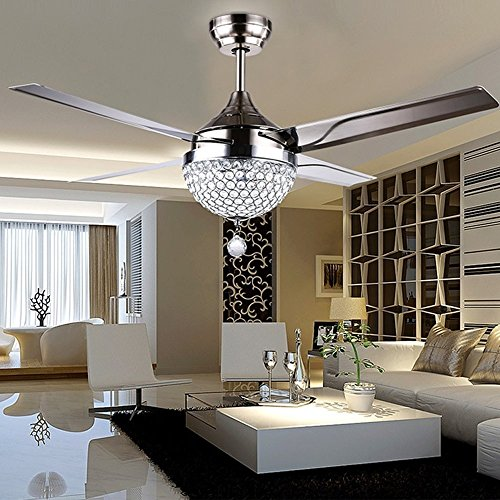 4 Blatt Edelstahl Crystal Stealth Fernbedienung Deckenventilator, 44 Zoll 3 Geschwindigkeit/Dimmbare Silber Fan Anhänger (220V) (Fan-licht-schatten)