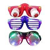 AOMEIQI Lunettes de LED populaires Lunettes de fête de décoration de Halloween Nouveaux 6 verres de lumière avec boule d'oeil 3 en 1 ensemble